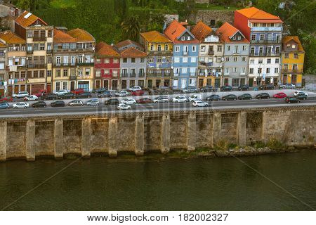 Promenade of Douro river from side Porto downtown, Portugal.