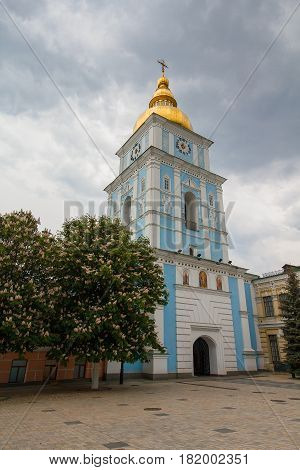 Bell tower of the ancient St. Michael's Cathedral Kiev Ukraine