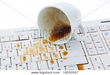Coffee cup on computer keyboard