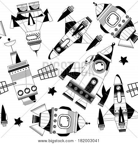 Black and white toy space rockets. Seamless background pattern. Vector illustration