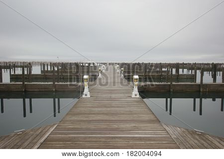 The Traverse City, Michigan dock shrouded in fog
