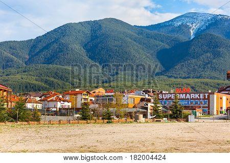 Bansko, Bulgaria April 14, 2017: Bansko, Bulgaria spring view with aldo, mountains peaks landscape and houses