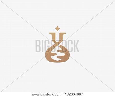 Lab vector logo. Flask dna mark logotype. Science education biotechnology symbol icon design.