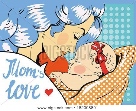 Mothers day. Mother and daughter in pop art retro comic style. Vector art for stock
