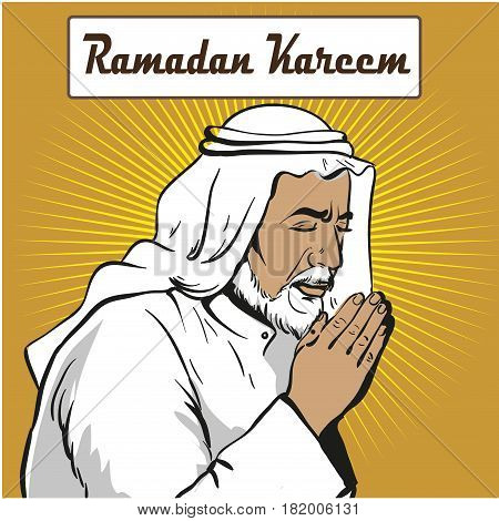 Muslim praying, vector illustration in pop art style su rays