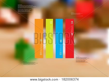 Illustration infographic template with motif of rectangle vertically divided to four standalone color sections. Blurred photo with financial motif with coins and money is used as background.