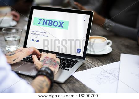 Inbox Chat Social Hashtag Graphic