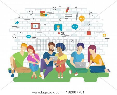 Community vector illustration of young people using gadgets such as smartphone, tablet and laptop sitting on floor and talking as part of community. Flat design of internet addiction and communication