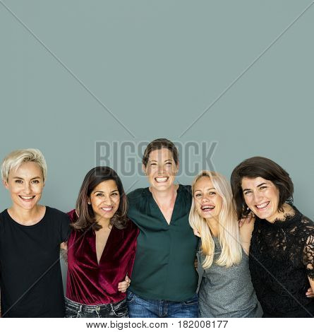 Group of women feminism friends smiling positivity