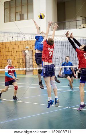 MOSCOW, RUSSIA - OCT 26, 2016: Volleyball game between Moscow State Univercity and Moscow State Academy of Physical Culture at sports playground of Lomonosovsky building of MSU.