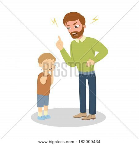 Father abuse the son. Angry dad yells at little scared kid. Characters on white background. Children's abusing.