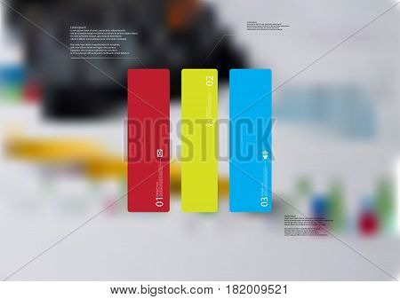 Illustration infographic template with motif of rectangle vertically divided to three standalone color sections. Blurred photo with financial motif with charts and calculator is used as background.