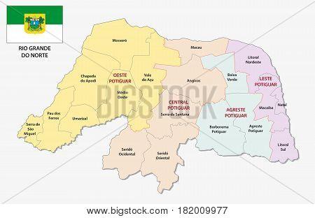 rio grande do norte administrative and political map with flag