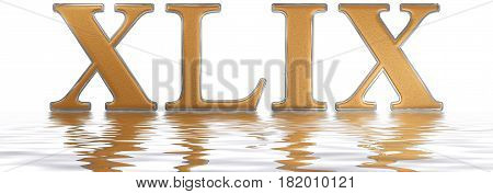 Roman Numeral Xlix, Novem Et Quadraginta, 49, Forty Nine, Reflected On The Water Surface, Isolated O