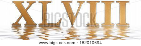 Roman Numeral Xlviii, Octo Et Quadraginta, 48, Forty Eight, Reflected On The Water Surface, Isolated