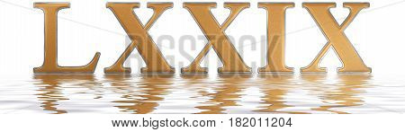 Roman Numeral Lxxix, Novem Et Septuaginta, 79, Seventy Nine, Reflected On The Water Surface, Isolate