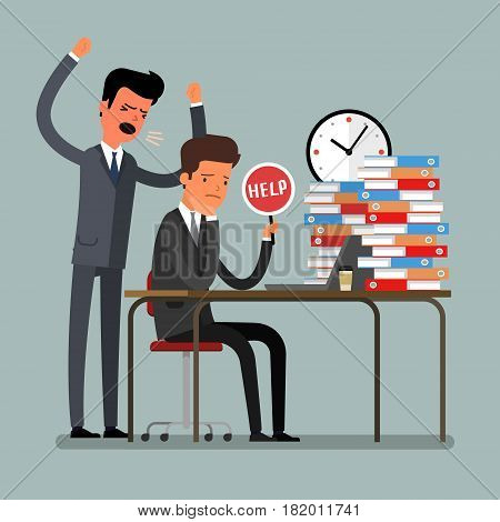 Concept of deadline. Angry businessman shouting at his worker. Flat design, vector illustration.