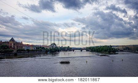Prague, Czech Republic - June 25, 2016: View of Prague and Vltava River from Charles Bridge.