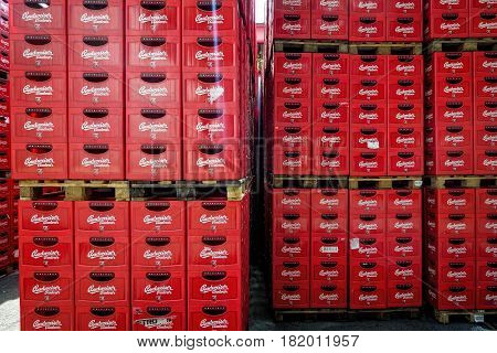 CESKE BUDEJOVICE, CZECH REPUBLIC - JUNE 30, 2016:: Budvar Budweiser brewery. Wall of beer crates.
