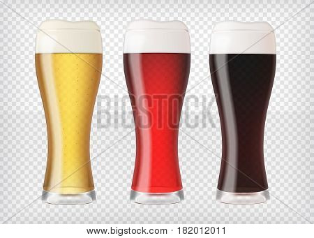 Realistic beer glasses. Mugs filled with red, dark and blond beer with bubbles and foam. Graphic design element for brewery ad, beer garden poster, flyers, printables. Transparent vector illustration