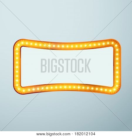 Bright glittering retro cinema bulb frame sign. Vector illustration