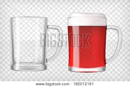 Realistic beer glasses. Mug filled with red fruit beer and bubbles with empty mug. Graphic design element for a brewery ad, beer garden poster, flyers and printables. Transparent vector illustration.