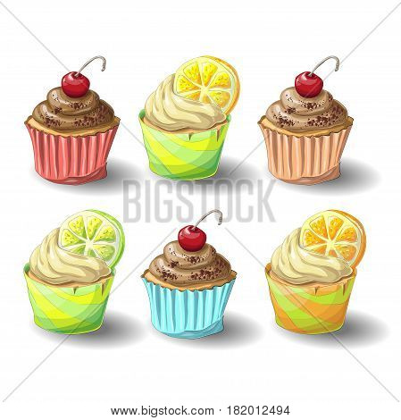 Set of capkakes. Hand draw. Chocolate and citrus capcake. Vector illustration