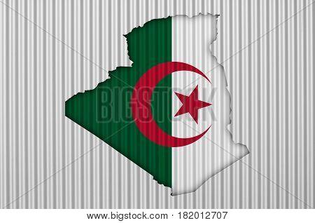 Map And Flag Of Algeria On Corrugated Iron