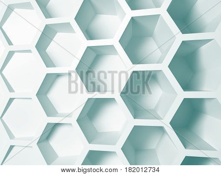 3d illustration of metal hexagonal honeycombs nano white blue background