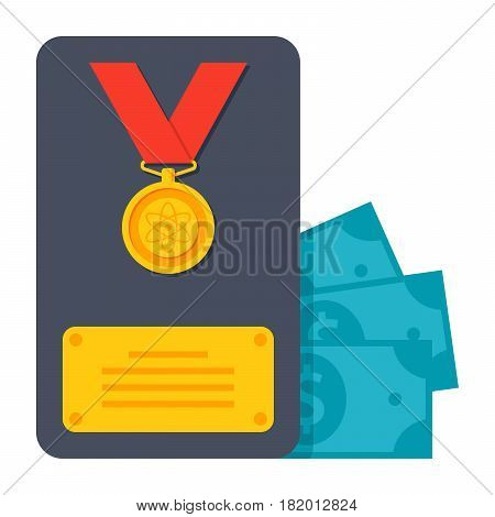 Scientific prize concept with gold medal and money, grant icon, vector illustration in flat style