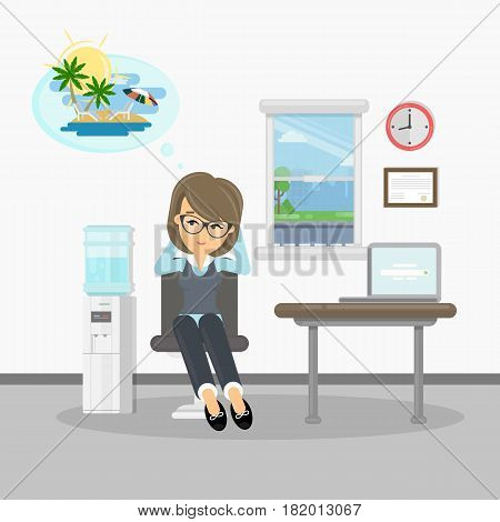 Woman wants on vacation. Businesswon at office drams of vacation at summer on the beach.