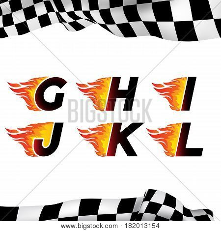 Fire and high associated speed font, letters G, H, I, J, K, L. Typeface symbols for logo on checkered background