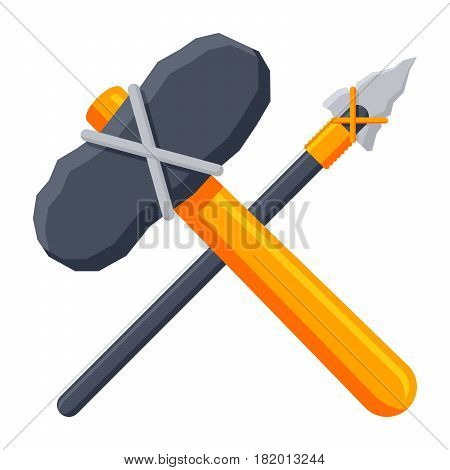 Stone tools concept with axe and spear, vector illustration in flat style
