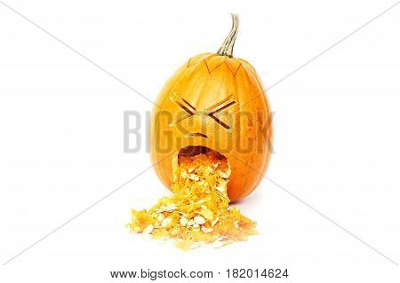 Halloween pumpkin throwing up isolated over white background