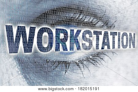 Workstation eye with matrix looks at viewer concept.