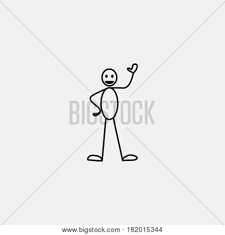 Cartoon icon of sketch stick figure man in cute miniature scenes.