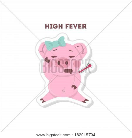 Pig with high fever. Isolated cute sticker on white background.