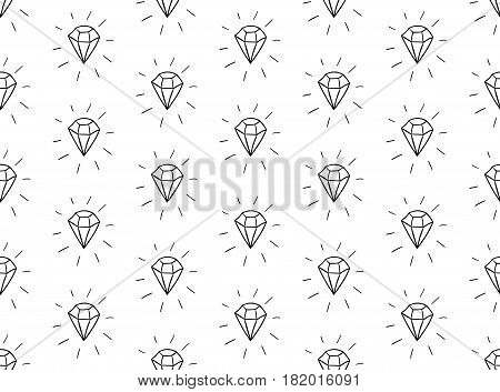 Black Decorative Seamless Background Patterns with Diamonds. Vector Illustration. Pattern Swatch