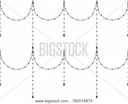 Black Decorative Seamless Background Patterns with Hanging Beads. Vector Illustration. Pattern Swatche