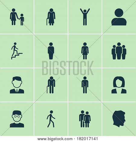 Person Icons Set. Collection Of Ladder, Grandpa, Gentleman Elements. Also Includes Symbols Such As Businessman, Rejoicing, Child.