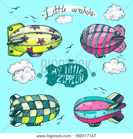 Hand drawn vector vintage collection of cute little air ships with strips, stars, dots and squares in the sky. Zeppelin, birds and clouds. Bright modern colors