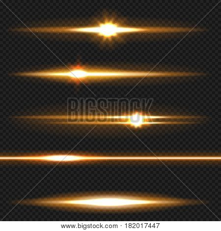 Orange horizontal lens flares pack. Laser beams, horizontal light rays. Vector, eps10
