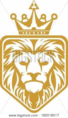 logo illustration head lion king hexagon crest security