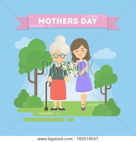 Mother's day greeting card. Daughter with old mother.