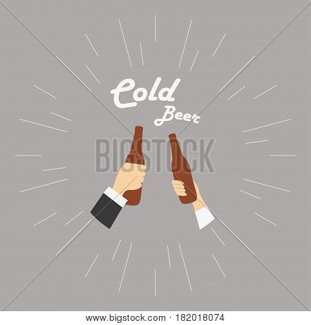 Two hands with cold beer bottle Vector illustration