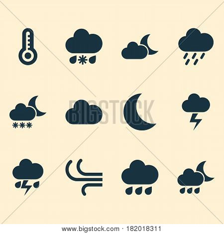 Meteorology Icons Set. Collection Of Temperature, Night, Moonlight And Other Elements. Also Includes Symbols Such As Cloud, Cloudy, Moon.