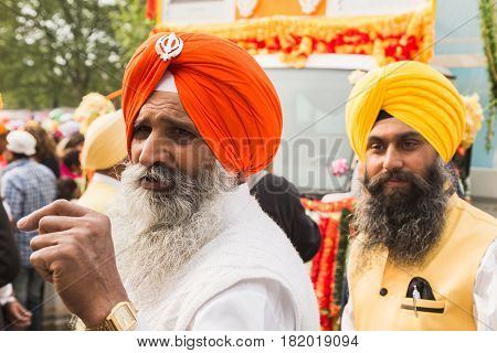 Sikh Men Taking Part In The Vaisakhi Parade