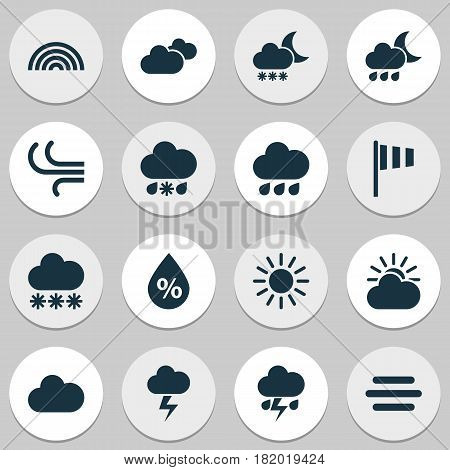Weather Icons Set. Collection Of Cloudy, Nightly, Lightning And Other Elements. Also Includes Symbols Such As Haze, Breeze, Light.
