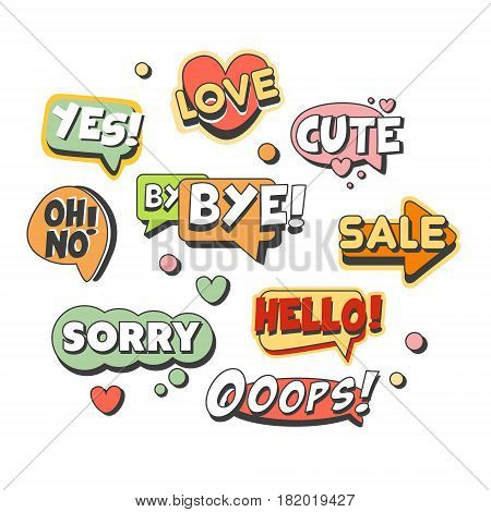 Speech bubbles for different emotions and sound effects set for label design. Speech bubbles with short messages. Colorful cartoon detailed Illustrations isolated on white background