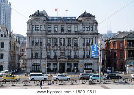 SHANGHAI - FEBRUARY 29: Old buildings and street view in Waitan of Shanghai, China, February 29, 2016.